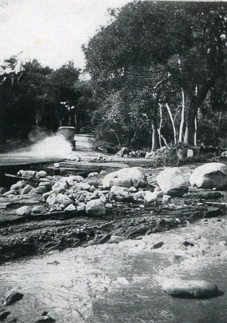 Intersection of Olive Mill and Hot Springs roads, where Casa Dorinda is today.