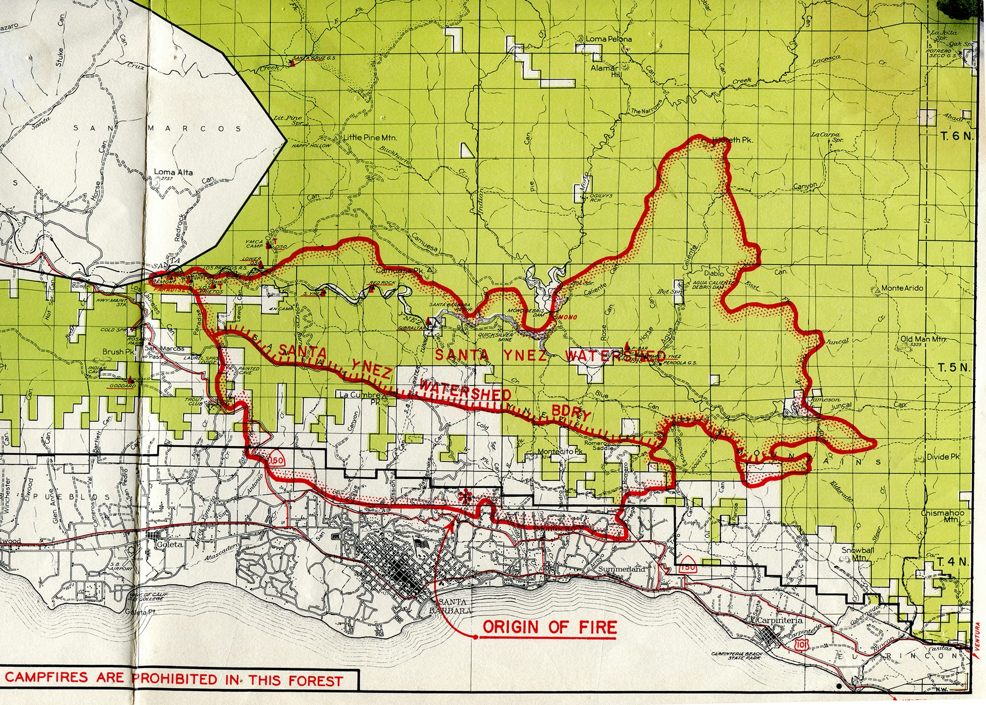 Coyote Fire map, 1964