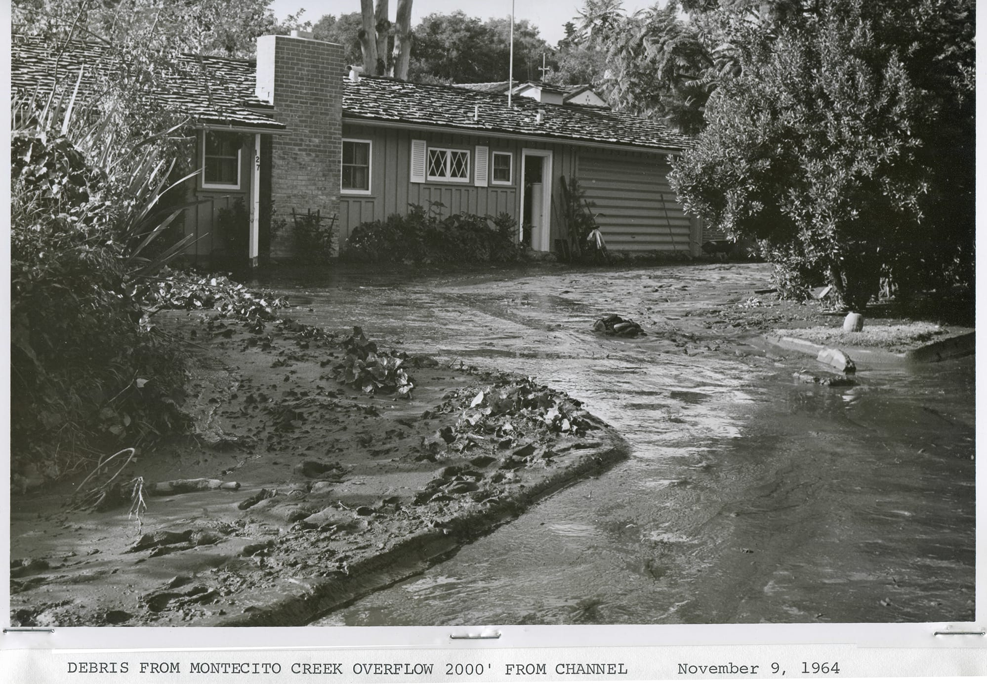 Montecito Creek overflow after Coyote Fire, 1964