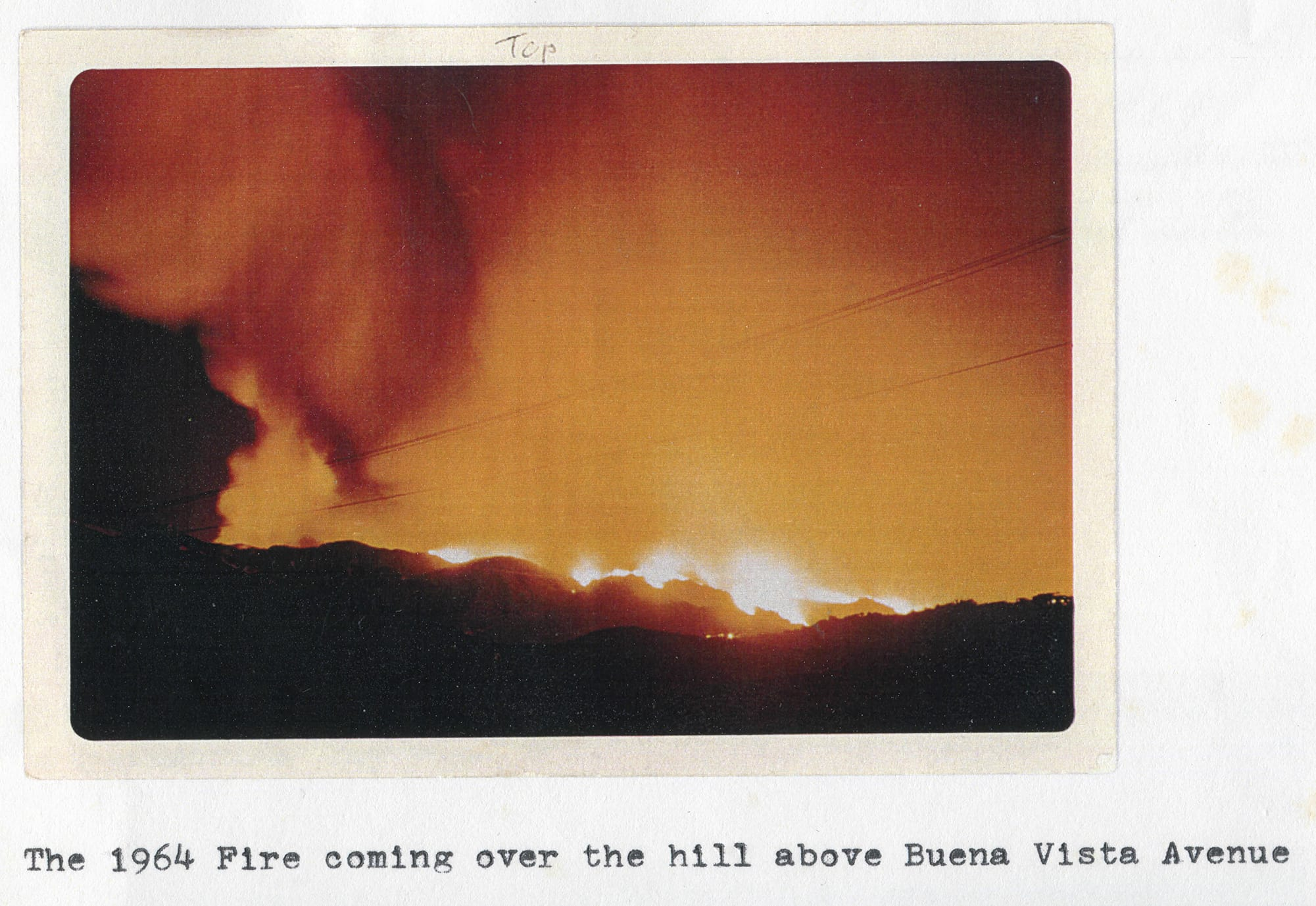 1964 Coyote Fire over Buena Vista Avenue