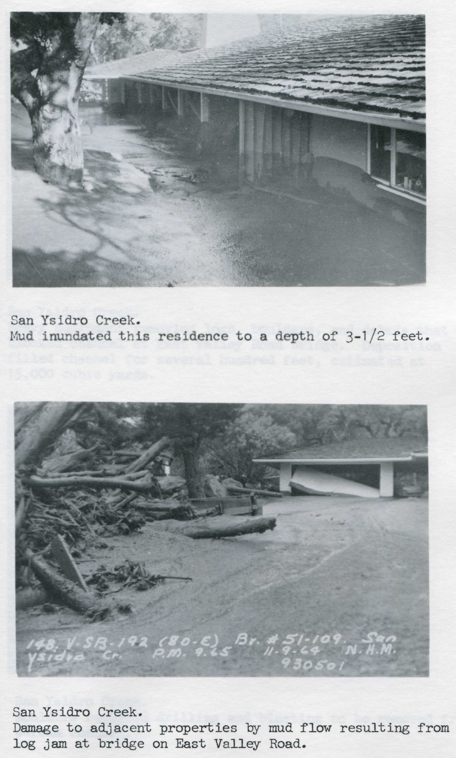 San Ysidro Creek damage, 1964