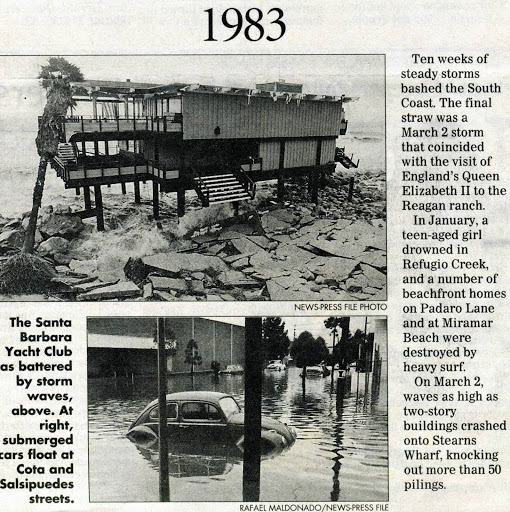Santa Barbara Waterfront And Downtown After 1983 Storms
