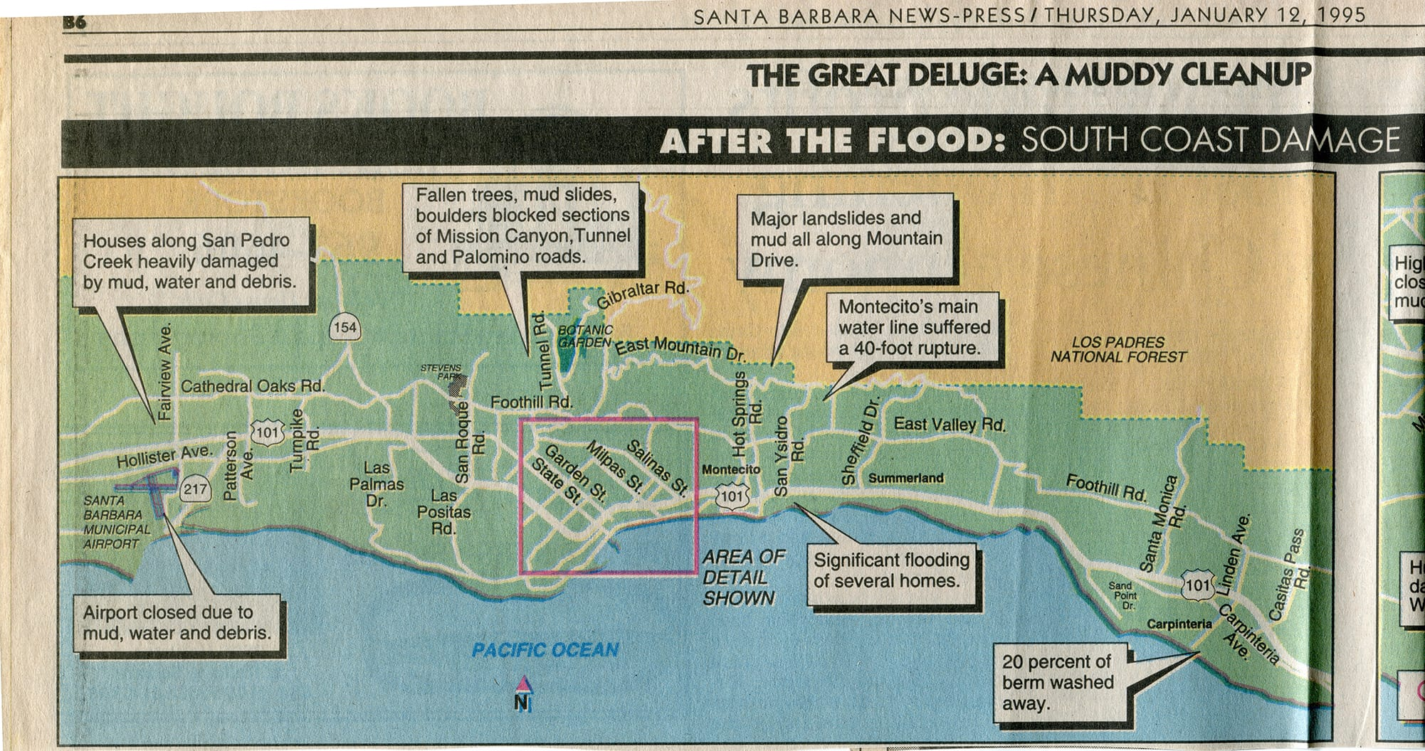 Flooded areas, January 10, 1995