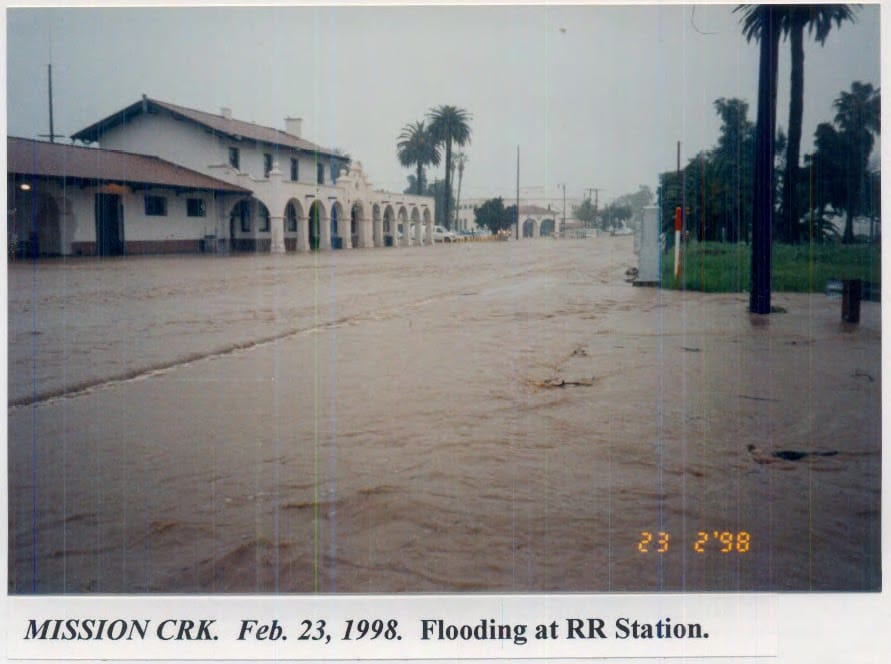 Flooding at Mission Creek, February 23, 1998