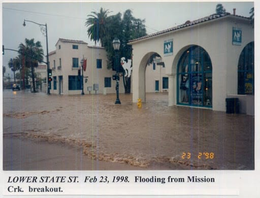 Flooding on lower State Street, February 23, 1998