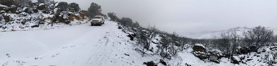 Snow on the Cave Fire burn scar, 2019.