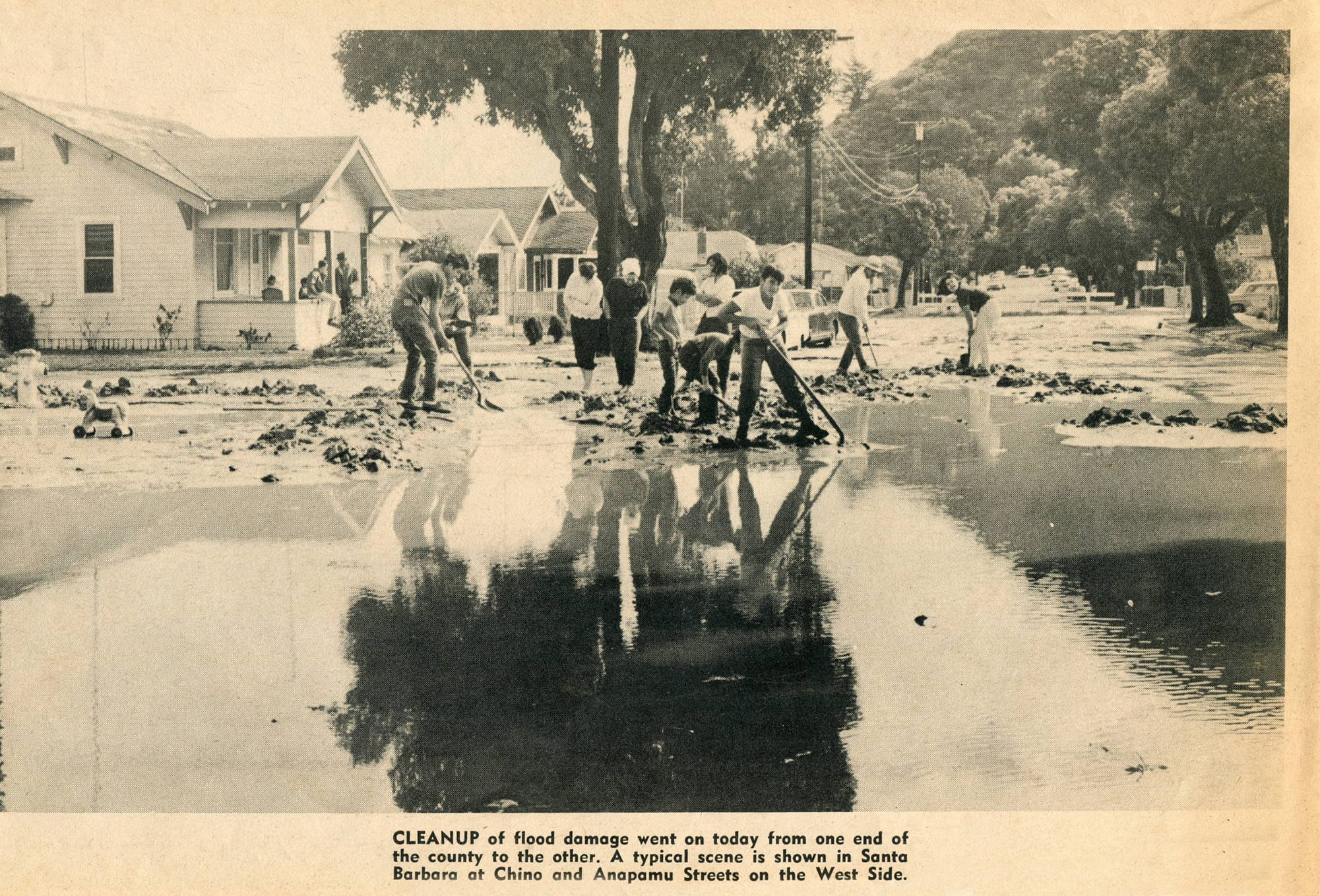 Cleanup crew in downtown Santa Barbara after flooding in 1969.