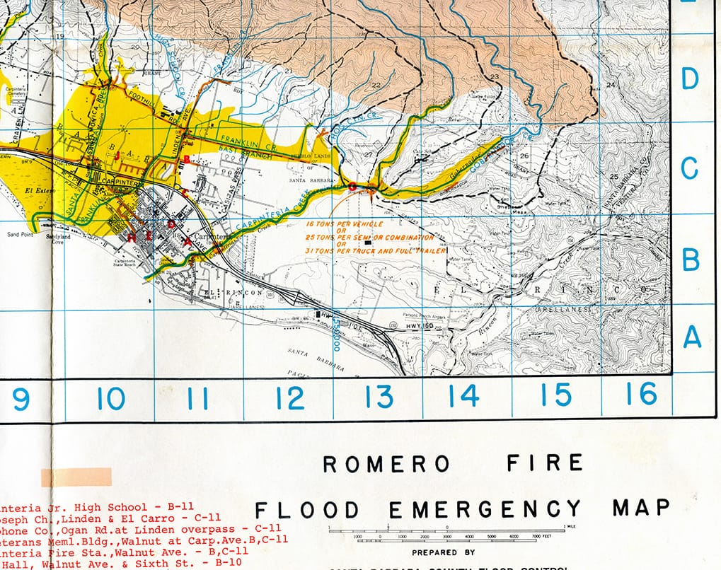 Romero Fire Flood Emergency Map 1971