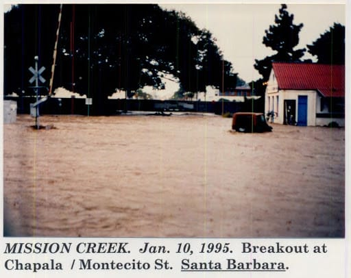Mission Creek flooding, January 10, 1995