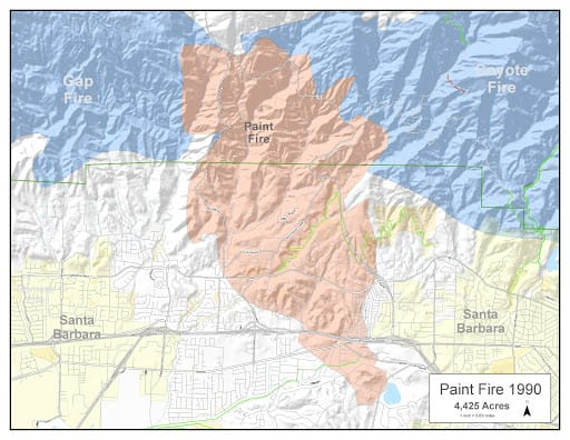 Map Of The Paint Fire, 1990