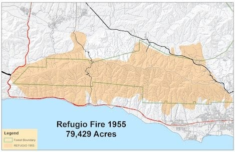 Map Of The Refugio Fire Burn Area, 1955
