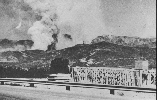 Romero Fire from Carpinteria, 1971.