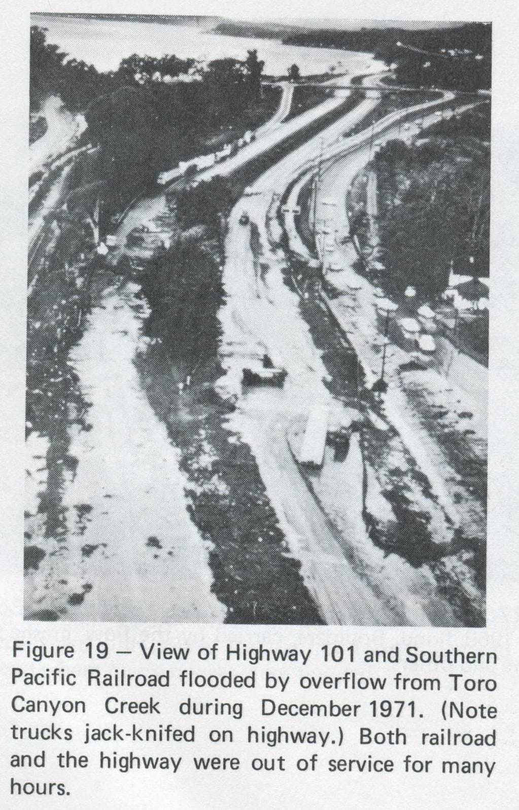 Flooding across Highway 101 near Padaro Lane, December 1971.