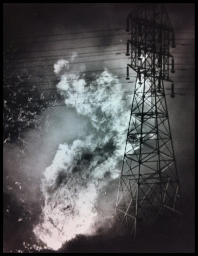 Sycamore Fire Burns Near Power Lines, 1977.