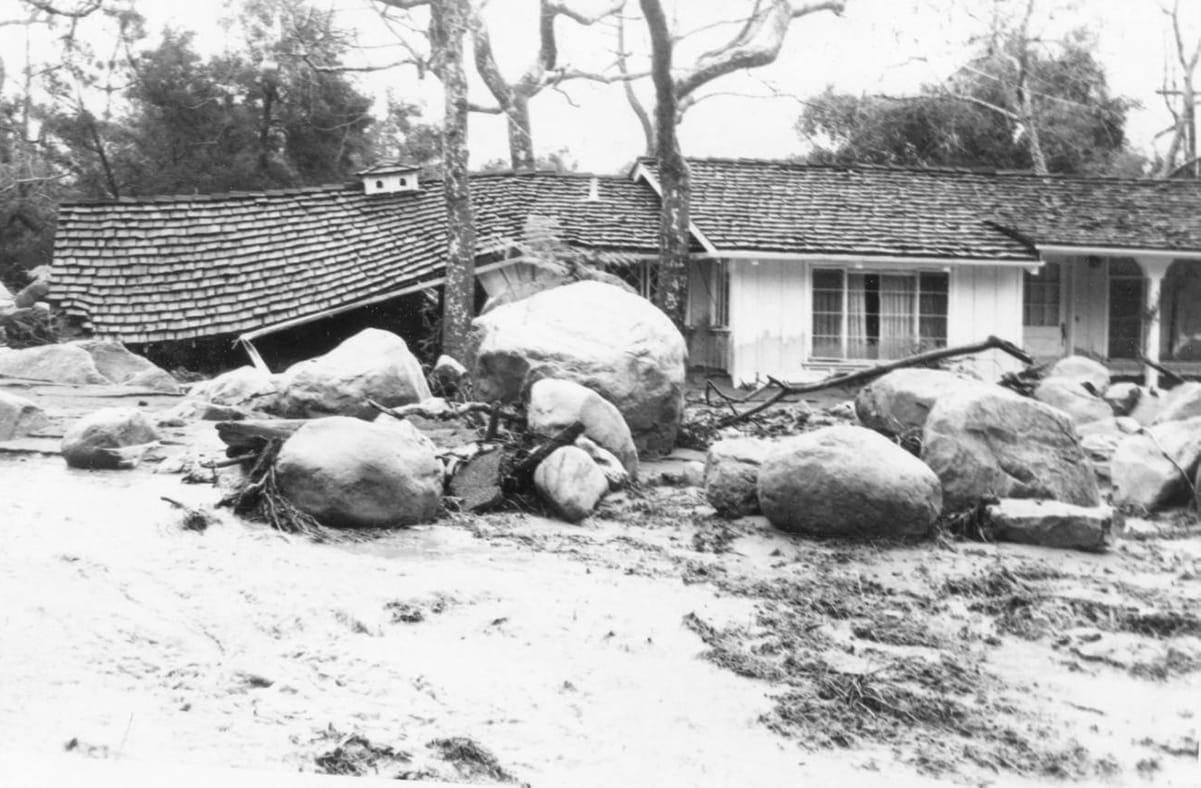 Montecito after a debris flow in 1969.